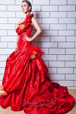 Red One Shoulder Taffeta Appliques Bridal Dresses