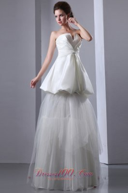 Unique Strapless Taffeta and Tulle Wedding Dress