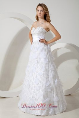 Special Fabric Beading Column Sweetheart Wedding Dress