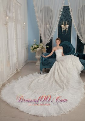 Gorgeous Strapless Cathedral Train Beading Wedding Dress
