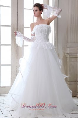 Strapless Tulle Beading Appliques Wedding Dress