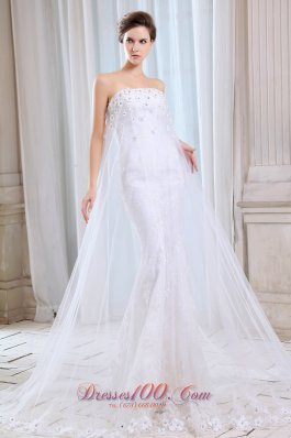 Pretty Mermaid Tulle Appliques Wedding Dress 2014