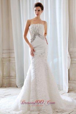 Elegant Special Fabric Mermaid Strapless Wedding Dress