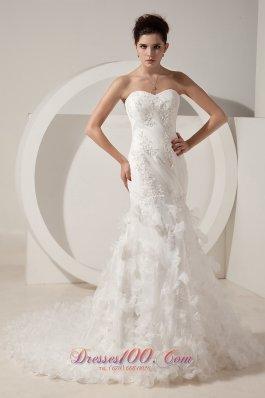 Elegant Mermaid Sweetheart Organza Beading Wedding Dress