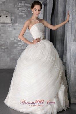 Multi-tiered Strapless Organza Ruffles Wedding Dress