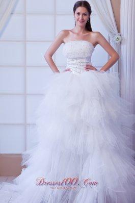 Extravagant Strapless Tulle Layers Beading Wedding Dress