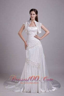 High Quality Elastic Woven Satin Lace Wedding Dress