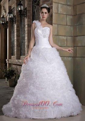 Romantic Floral One Shoulder Rolling Flowers Wedding Dress