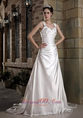Exquisite Straps Taffeta Ruch and Appliques Wedding Dress