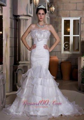 Flattering Mermaid Strapless Organza Ruffles Wedding Dress