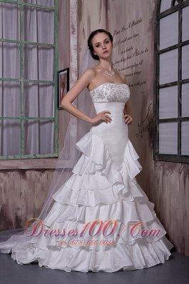 Attractive Strapless Ruffled Layers Wedding Dress