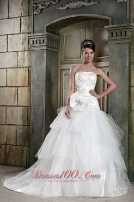 High Quality Strapless Wedding Dress Tulle and Taffeta