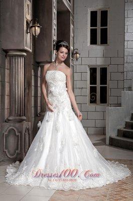 Modest Strapless Lace Floral Wedding Dress
