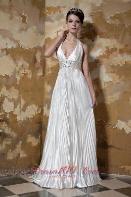 Sexy Halter Elastic Woven Satin Beading Wedding Dress