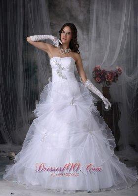 Gorgeous Strapless Taffeta and Organza Wedding Dress