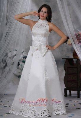 Attractive High-neck Sash Bow Satin Wedding Dress