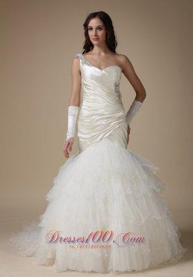 Chic One Shoulder Taffeta and Organza Wedding Dress