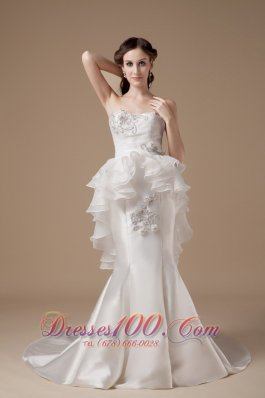 Classy Strapless Wedding Dress Satin and Organza