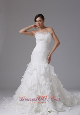 Trumpet Sweetheart Ruched Ruffles Wedding Dress