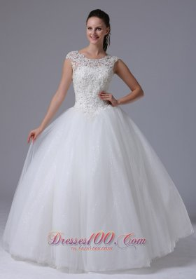 Scoop Wedding Dress With Appliques Decorate Bust Tulle
