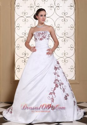 Modest Red Embroidery Satin Wedding Gown