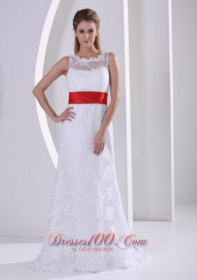 Lace Sash Romantic Beach Wedding Gown 2013