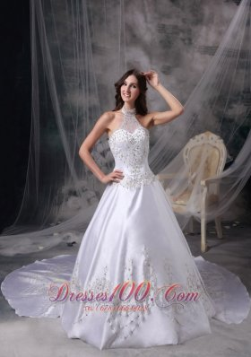 Wedding Dress Halter Satin Embroidery and Beading