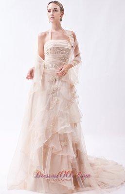Halter Champagne Organza Appliques Prom Dress