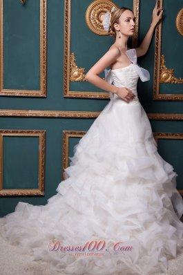 Ostentatious Strapless Organza Ruch Wedding Dress