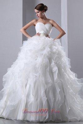 Chapel Train Organza Ruffles Bridal Dress