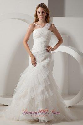 Mermaid V-neck Organza Ruffles Wedding Dress