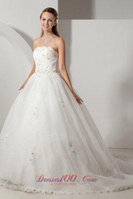 Unique Strapless Organza Bridal Dress Beading