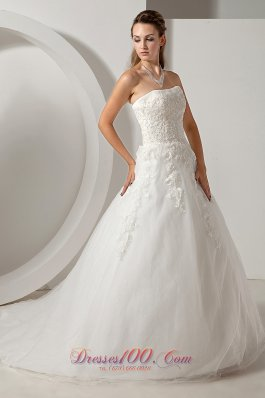 Modest Organza Bridal Dress Appliques 2013