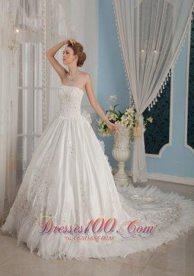 Strapless Cathedral Train Bridal Dress Taffeta