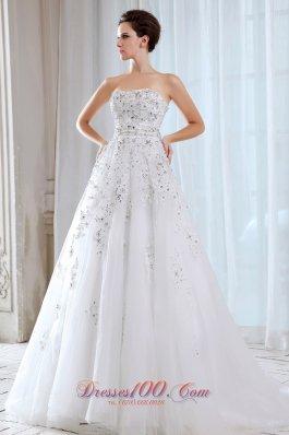 Sweet Strapless Tulle Beading Bridal Dress