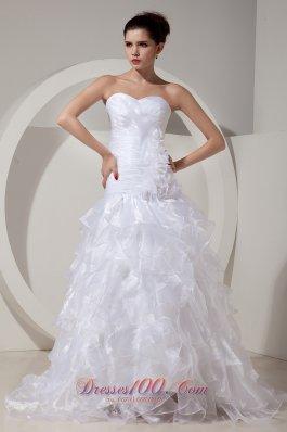 Ruffles Sweetheart Organza Princess Bridal Gown Handle Flowers