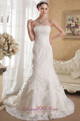 Mermaid Strapless Lace Beading Bridal Gowns