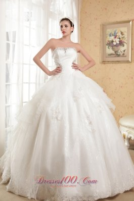 Strapless Satin and Organza Appliques Wedding Dress