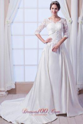 Designer Princess V-neck Satin Wedding Gowns