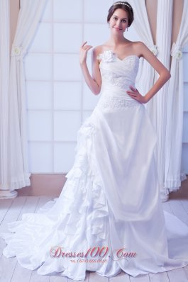 Sweetheart Taffeta Appliques Wedding Gowns For Gustomers