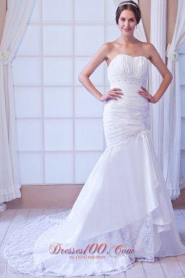Strapless Court Train Taffeta Appliques Wedding Dress