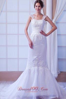 Straps Court Train Organza Appliques Bridal Dress