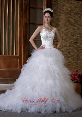 Sweetheart Bridal Dresses Satin and Organza Appliques