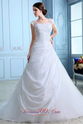 Bridal Dresses Appliques Square Tulle For Customers