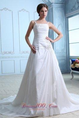 Straps Ruch and Appliques Bridal Dresses Taffeta