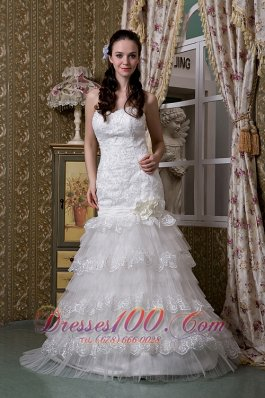 Ruffled Layers Taffeta And Lace Sweetheart Wedding Gown