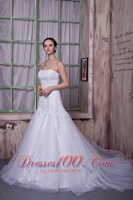 Taffeta And Tulle Court Train Customize Bridal Gown