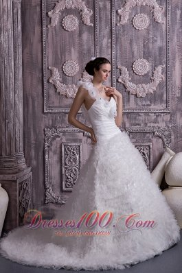 One Shoulder Court Train A-line Bridal Gown Tulle