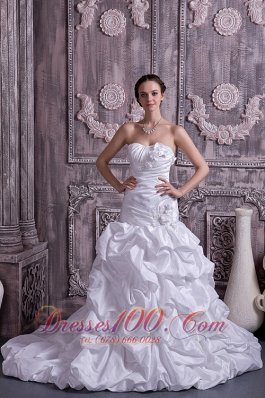 Taffeta Strapless A-line Bridal Dress Beading Court Train