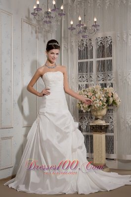 Strapless A-line Bridal Dress Taffeta Court Train Appliques